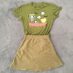 Tokidoki Zombie Ghost Tee and Mini Skirt